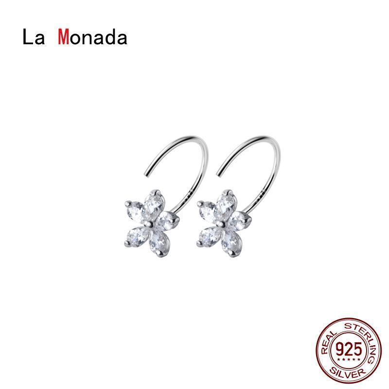 La Monada Flower Minimalist 925 Sterling Silver Earrings For Women Hoops Woman Earrings Sterling Silver 925 Real Hoops