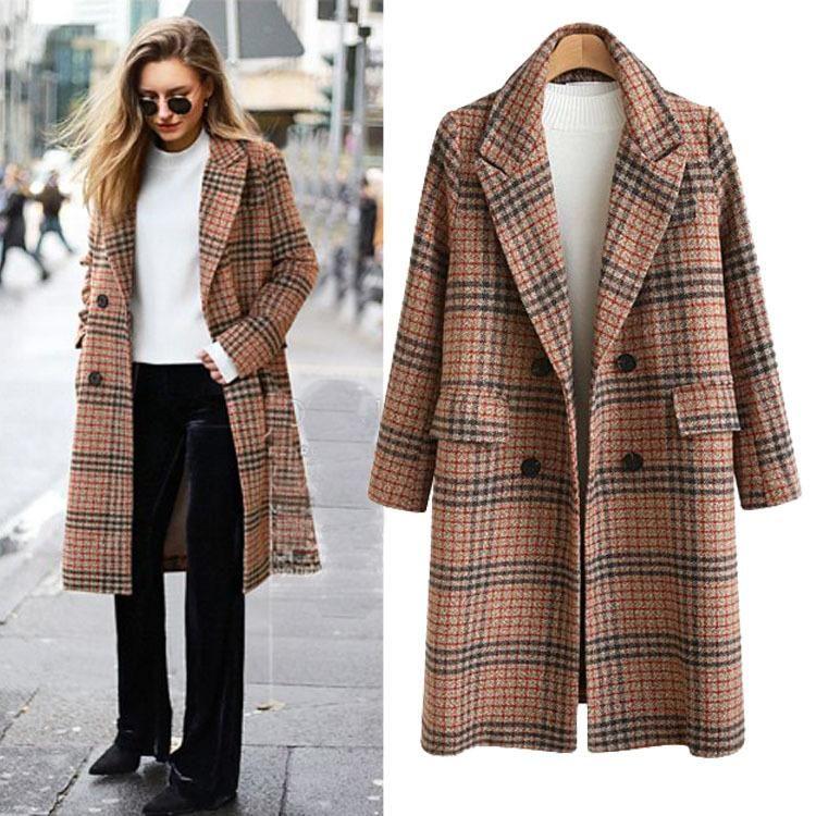 2020 Autumn and winter new women's wear British style large loose medium length Plaid woolen long women coat manteau femme hiver