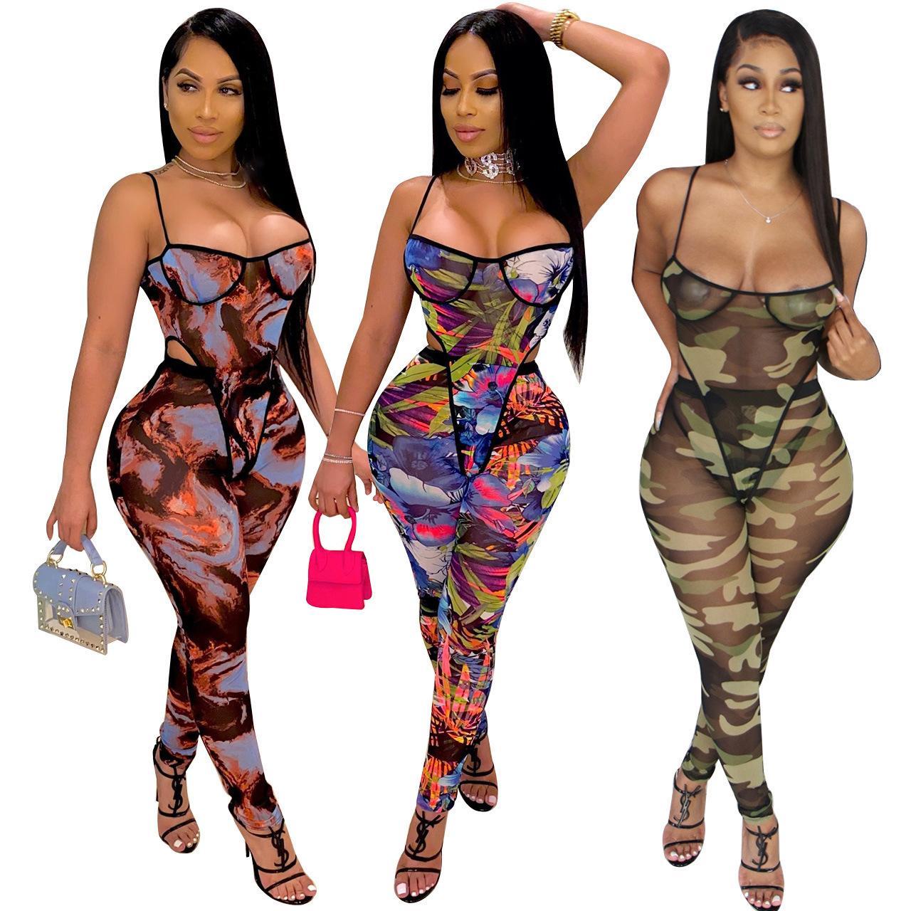 Europe et Amérique Spring and Automne Nouveaux Femmes Fashion Casual Ceinture Wrap Poitrine Slim Jumpsuit Sexy Printing Pantalons sans manches Body