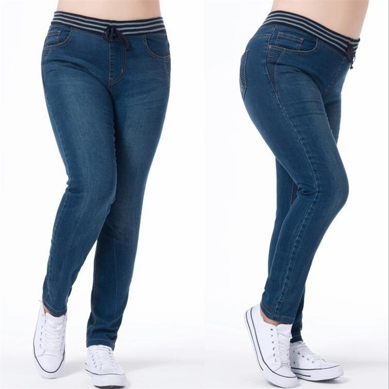 LGUC.H PLUS Taille Jeans pour femmes Grandes grandes grandes femmes Jenas Classic Jeans surdimensionnés Femme Jean Femme Femme Pantalons 6XL 7XL 201031
