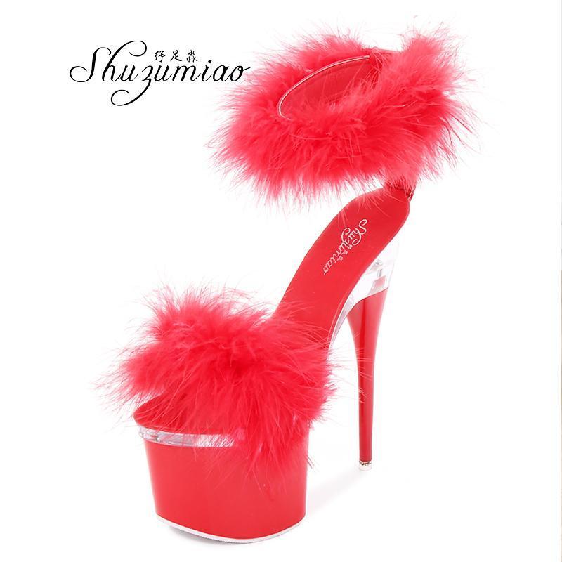 Sandali Fairy Donne Scarpe 2021 Pelliccia in acciaio Tube Dancing Striptease Femmina con tacco alto 18 cm Nightclub festa nuziale