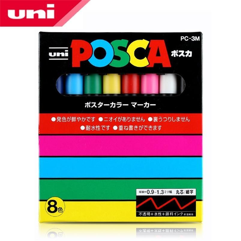 MITSUBISHI UNI POSCA PC-3M Marcador de pintura - TIP FINE-0.9mm-1.3mm 8 Colores / Caja Marcadores de arte Oficina Suministros Escolares 201222