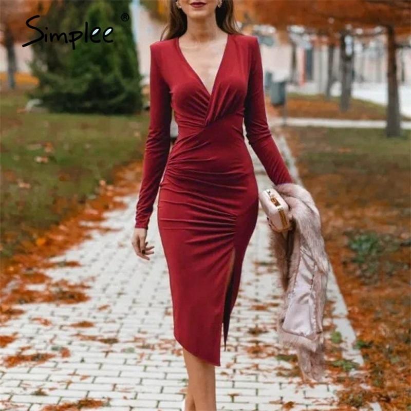 SIMPLEEE Şarap Kırmızı V Yaka Sonbahar Kış Kalem Bölünmüş Kadınlar Elbise Seksi Uzun Kollu Bodycon Elbise Rahat Ofis Bayanlar Parti Elbiseler LJ201130