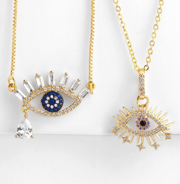 Cristal mau colar de olho pingente banhado a ouro bling hip hop colar jóias por atacado para festa mulher