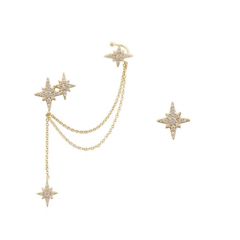925 Pendientes de cadena de estrella hexagonal de la aguja de plata 925 Pendientes de la cadena larga Pendientes Helix Oreja Piercing Pendientes para mujer Joyería A30