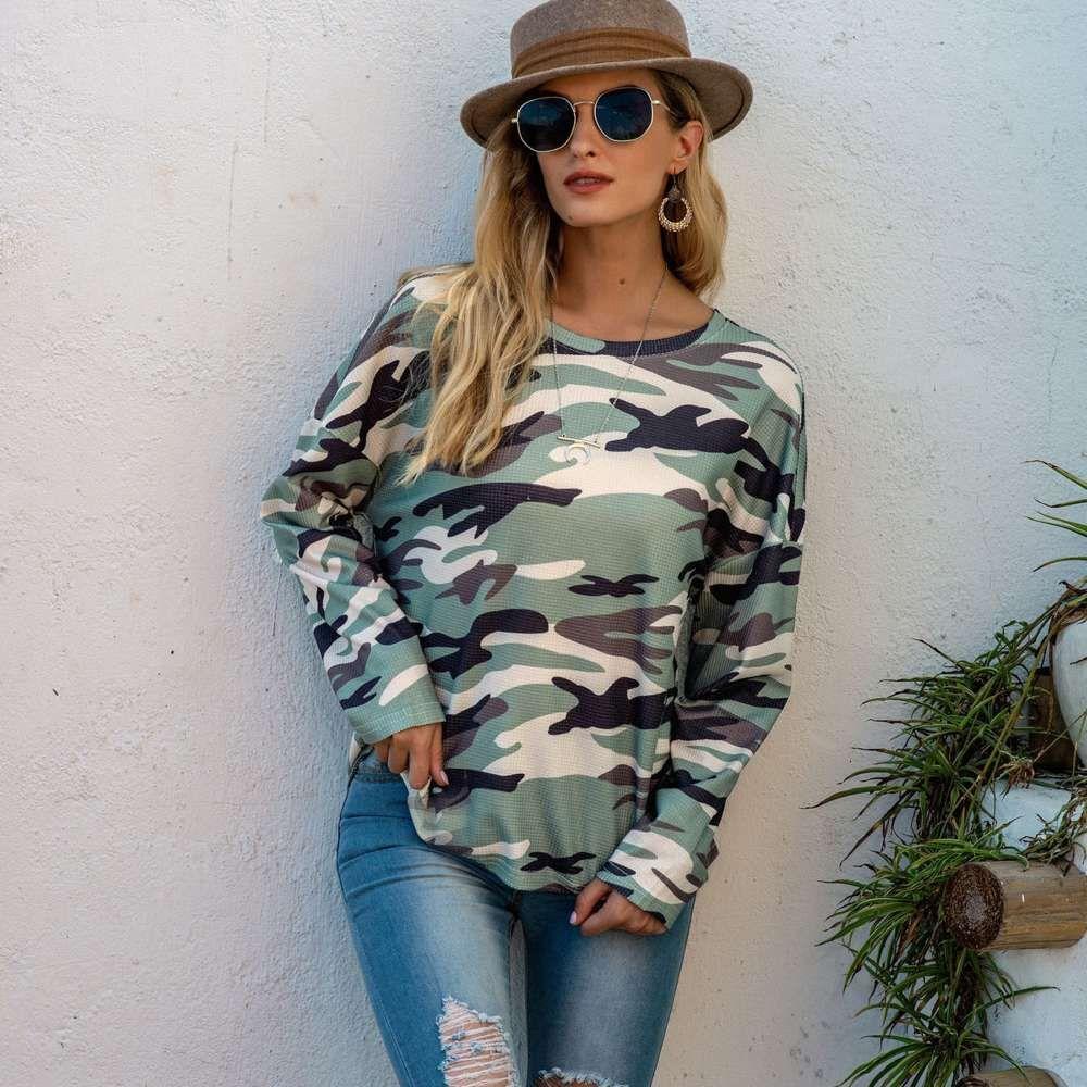 2020 новый женский камуфляжный свитер Свободная футболка с длинным рукавом