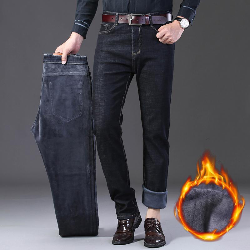 Nigity 2019 Wintermänner warme schwarze Fleece Jeans Stretch Casual Straight dicke Denim Flanell Jeans weiche Hose Hose Größe29-42