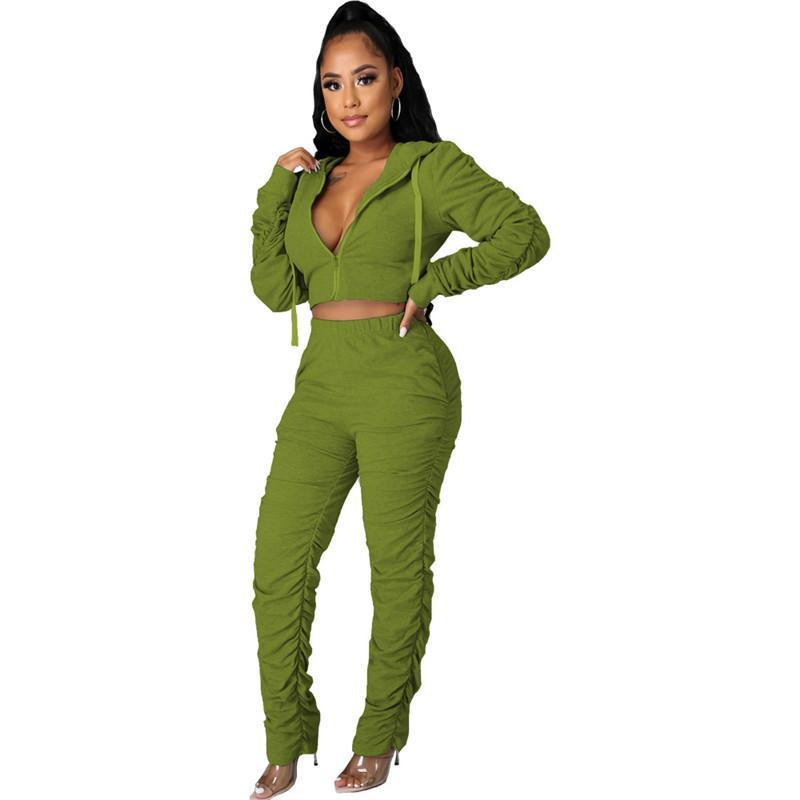 Yığılmış Tasarımcı Bayan İki Parçalı Pantolon Toprak Renk Bayanlar Eşofman Seksi Kapşonlu İki Parçalı Set