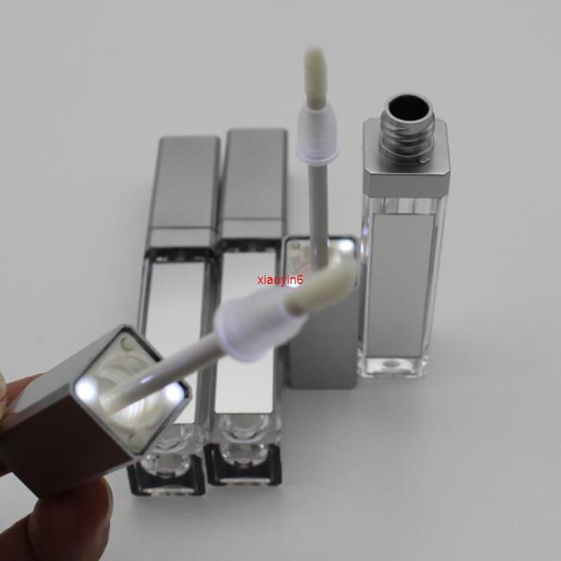 5/10 / 20pcs 7,5 ml Quadratische Lippenglanzschlauch leerer Flasche mit LED-Lichtspiegel klare kosmetische Container Makeup-Tools für den Versand
