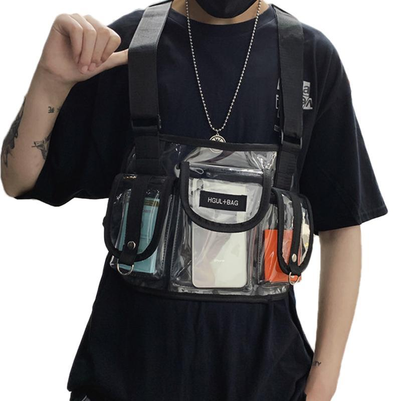 Borse a vita Fashion Trasparente Streetwear Streetwear Hip-Hop Uomo Petto BAG BAG BAG multiple Donne Summer Donne Riflettente Laser Tactical Controllare unisex