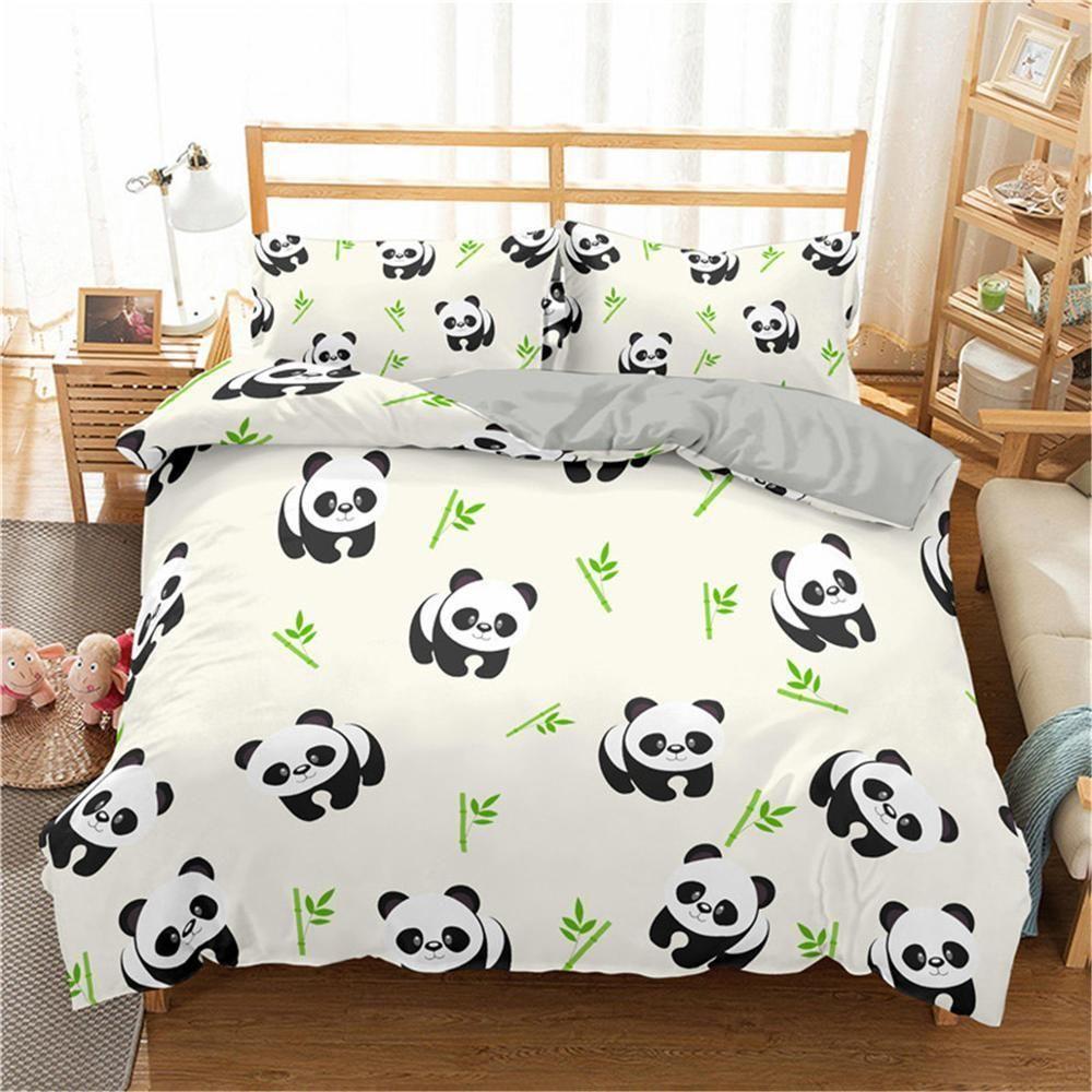 Boniu Panda Stampato 3pcs Set di biancheria da letto Bamboo Duvet Cover Set per bambini per bambini Adulti Bedclothes e Pillowcases Set da letto consolatore 201114