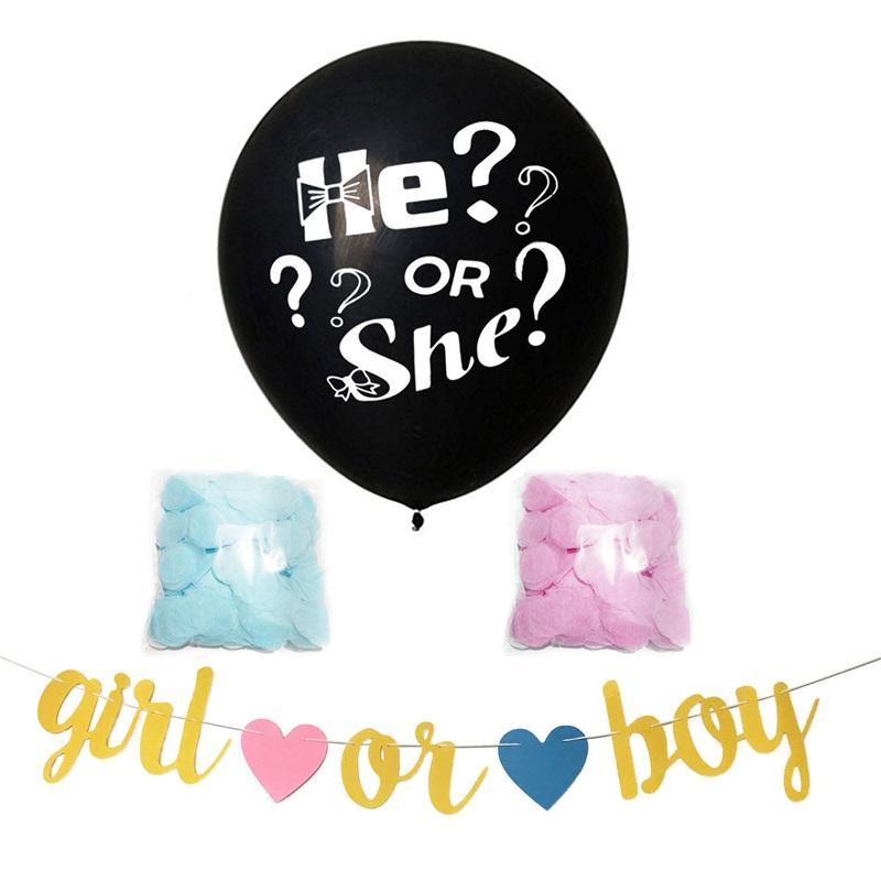 36-дюймовый черный вопрос Марк Марчик или девочка Пустопар Баллон Мода Аксессуары Пол открывает Party Baby Shower 495 K2