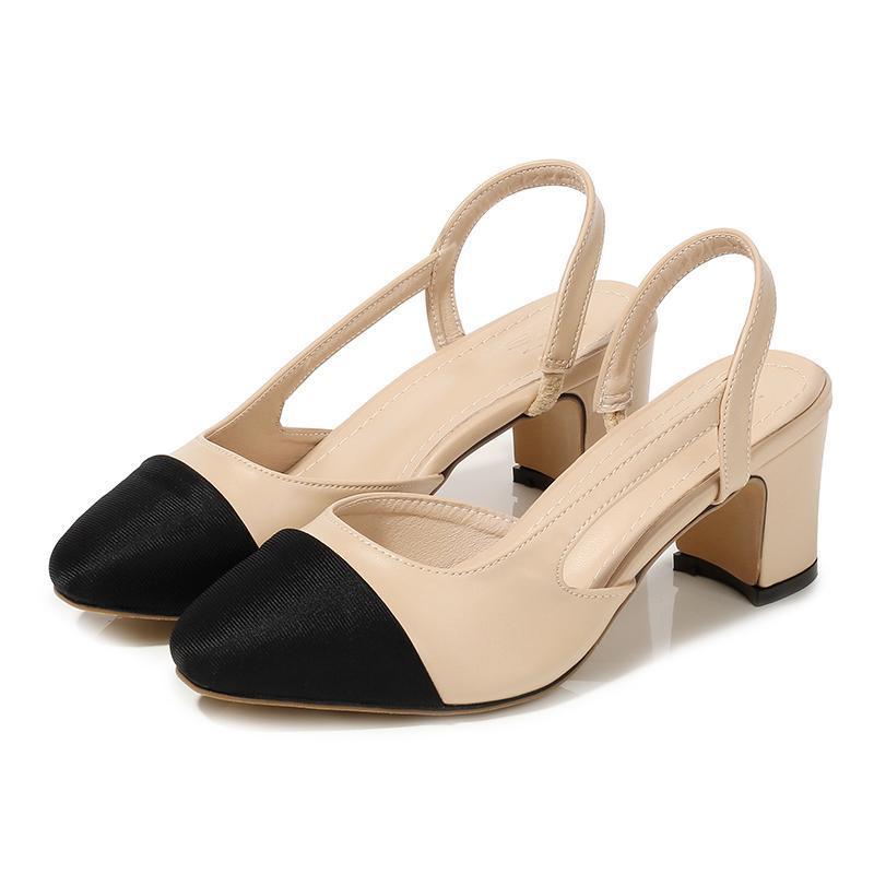 النساء أحذية أحذية عالية الكعب الناعمة الجلود سميكة أحذية عالية الكعب الصيف مختلط الألوان مضخات السيدات