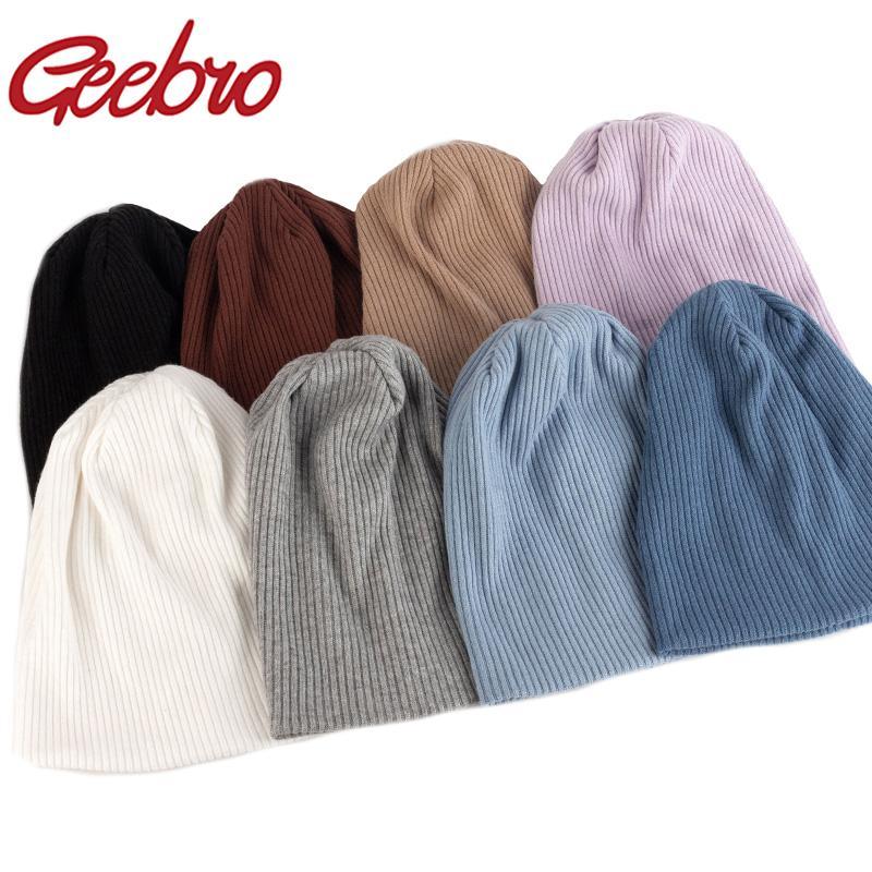 Женщины мода стрейч ребристые влюбленные шапочки шапка мужчины зимняя осень мешковатый весенние полосатые вязаные черепашки теплые крышки Горри