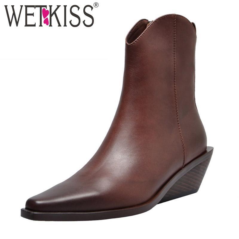 Wetkiss tacones altos de madera botines de madera para mujeres botines de cuero moda zapatos de punta cuadrada hembra estilo extraño zapatos zips de las señoras otoño