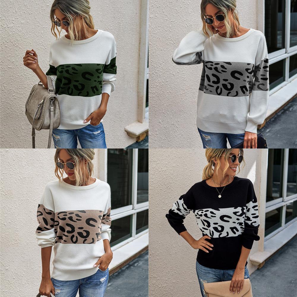 Пуловер Wewinter женщин с длинным рукавом вязаное шею свободный свитер леопардовый круглый 2020