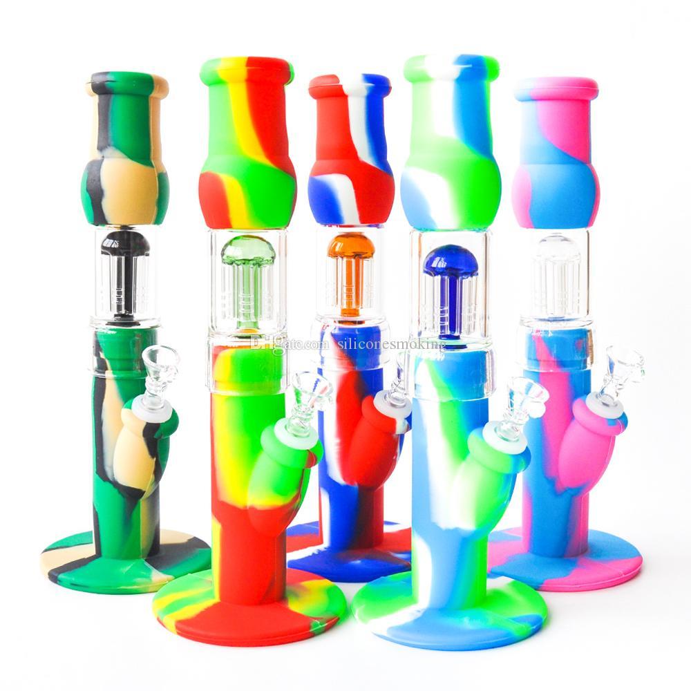 """12.5 """"Muliti Color Silicone Bong con vidrio Bong Tubo de agua Tubo de aceite DAB TUBO DE HUMO"""