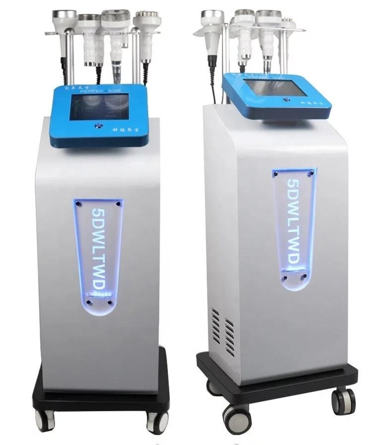 Çok fonksiyonlu yüz germe ultrasonik kavitasyon 5D oyma enstrüman rf vakum vücut şekillendirme zayıflama makinesi yağ patlatma