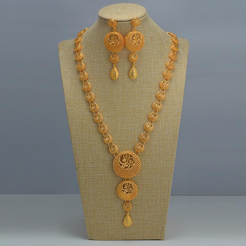 Indische Chokers Hochzeit Kette Schmuck Sets Gold Farbe Ohrringe für Frauen Afrikaner / Dubai / Arabische Hochzeit / Party Frau Geschenke 201215