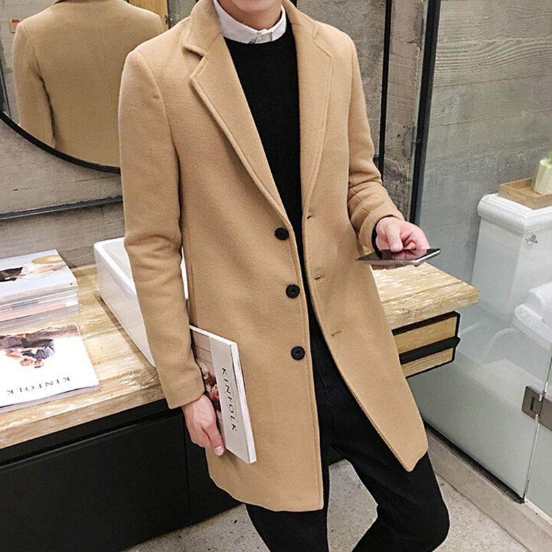 Bella nuova cappotto di lana invernale per il tempo libero sezioni lunghe cappotti di lana cappotti di lana di colore puro giacche di moda di colore / soprabito per uomo casual