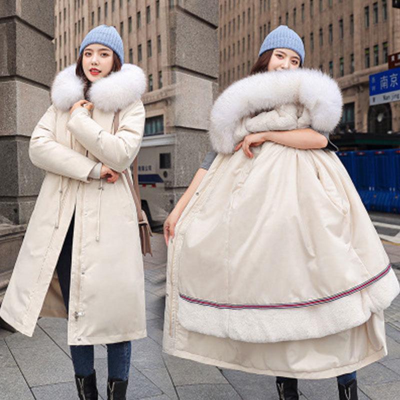 Parkas Женская 2020 Толстый Зимний Съемный Лайнер Плюс Размер Подосно Хлопок Куртка Свободная верхняя одежда Теплый Простота Длинные Пальто