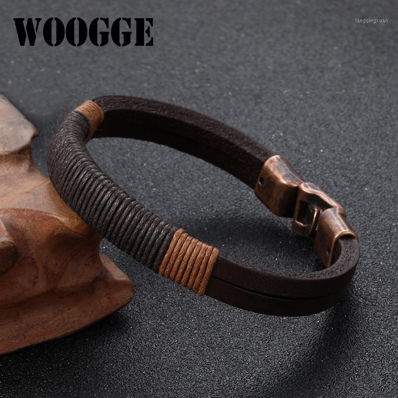 Nuovo braccialetto in pelle per uomo vintage bohemian style gioielli wrap Genuine wrap in pelle braccialetto braccialetto braccialetto Brown1