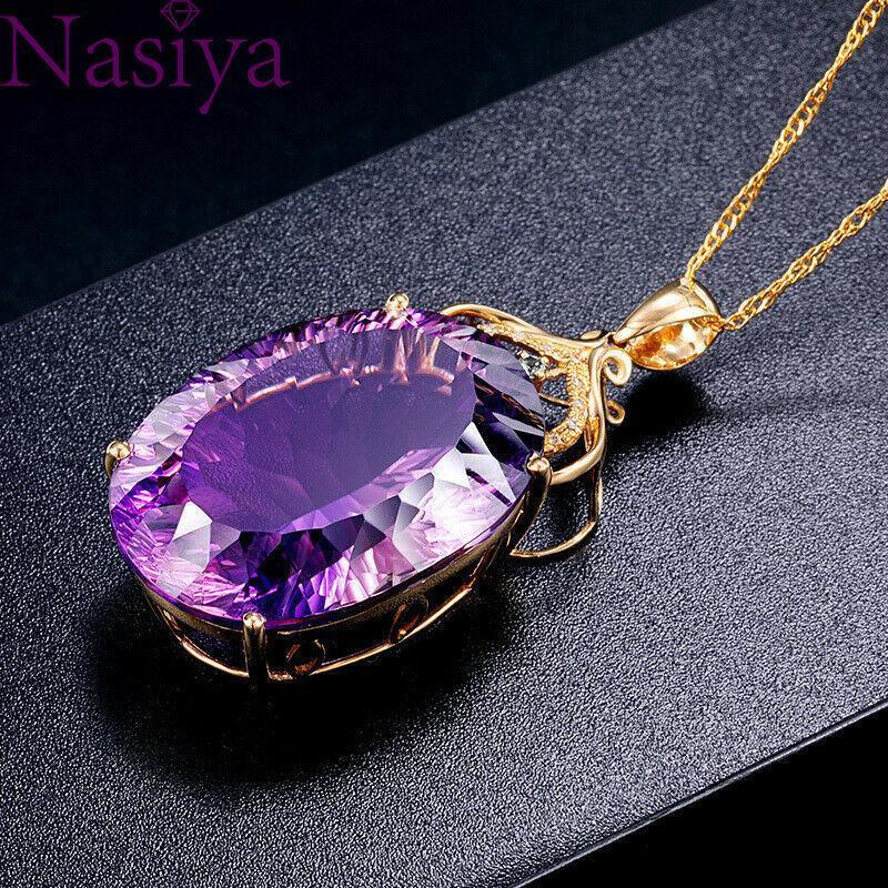 Altın 36ct Ametist Renk Oval Kristaller Askı Zincirleme Lady Bruiloft Mücevherat