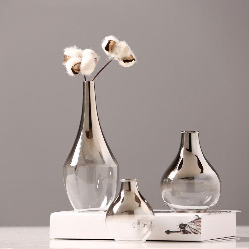 Glass Vase Silver Gradient Dried Flower Vase Decoration Home Decoration Plants Pots Furnishing Christmas Gift