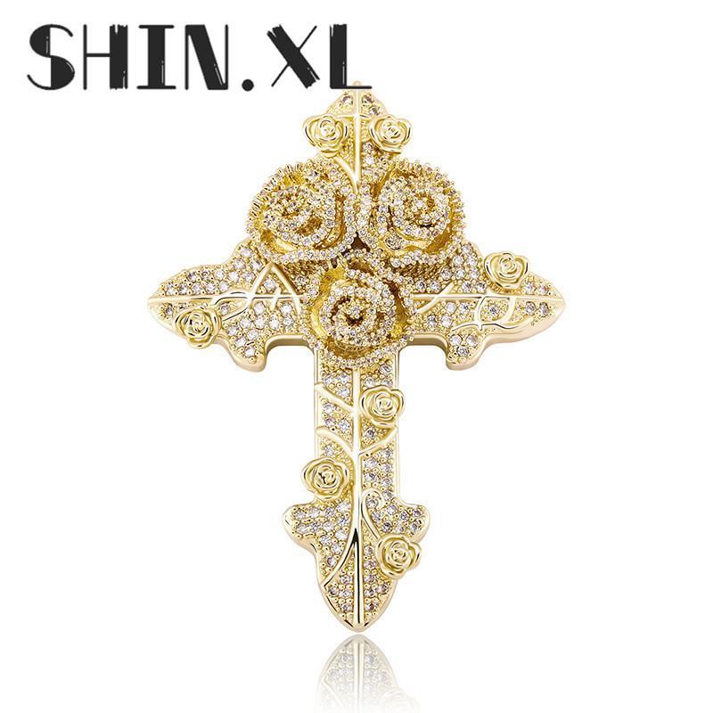 الهيب هوب مثلج من الذهب مطلي ارتفع الصليب قلادة قلادة بلينغ بلينغ مجوهرات للرجال والنساء