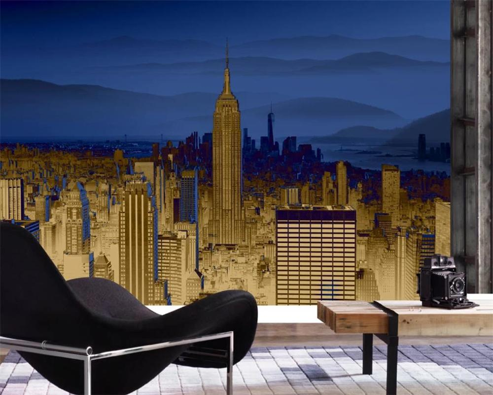 Custom Luxury 3d Wallpaper North European and American Style Golden Luxury City and Mountain Scenery Photo 3d Wallpaper
