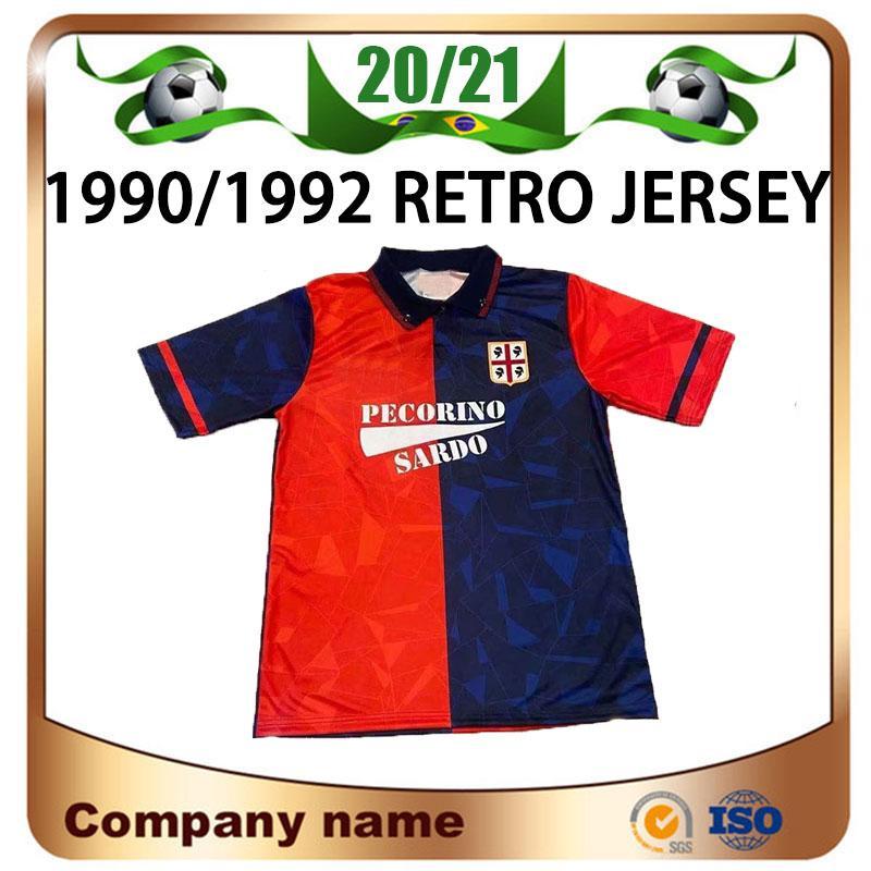 90/92 레트로 Cagliari Calcio Soccer Jersey 199/1992 홈 Joao Pedro Simeone Nainggolan Godin 축구 셔츠 레드 축구 유니폼