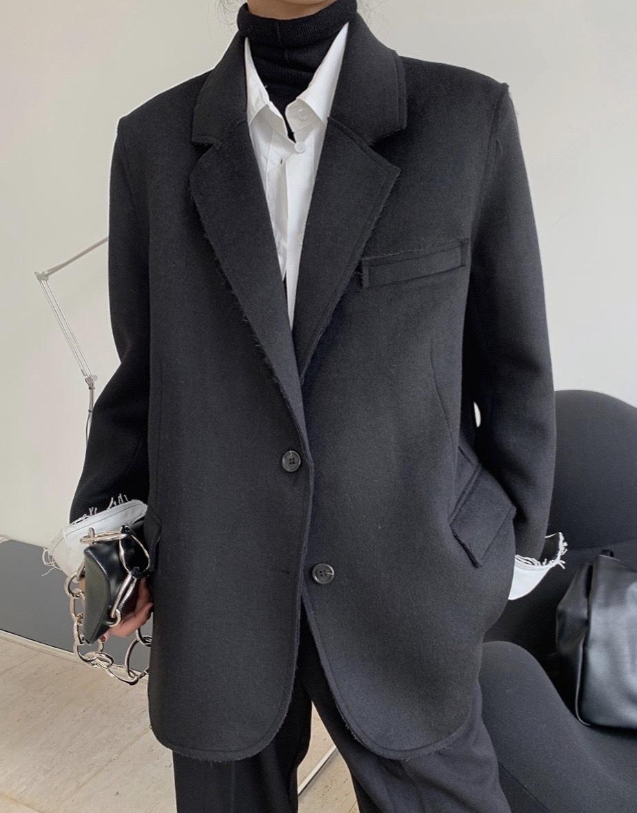 Novo estilo Europeu e americano estilo silhueta de moda espessa lã terno de negócio lapela ombro largo escavadora Manter quente casaco simples