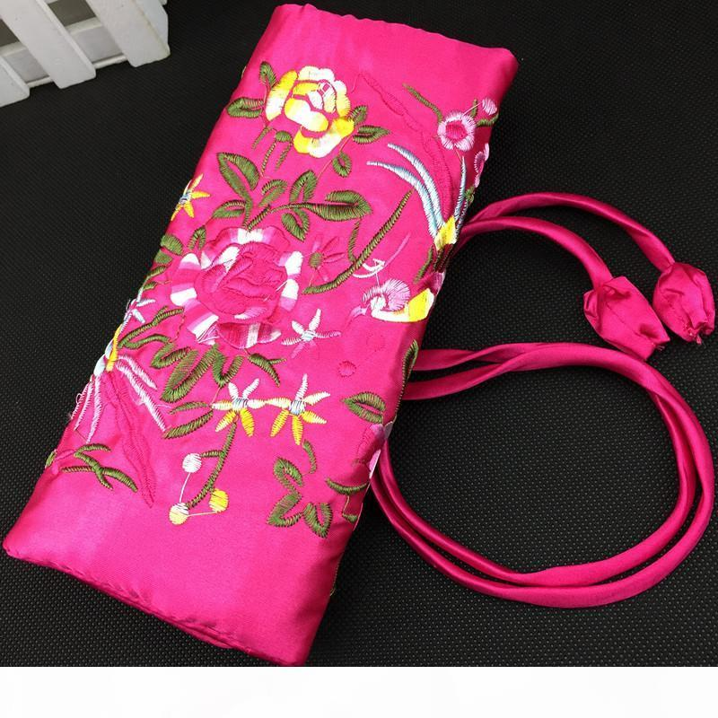 Embroidery flower Bird Travel Jewelry Rolls Necklace Bracelet Storage Bag Satin Craft Makeup Cosmetic Pouch 3 Zipper 2 Ring Rope Clutch Bags