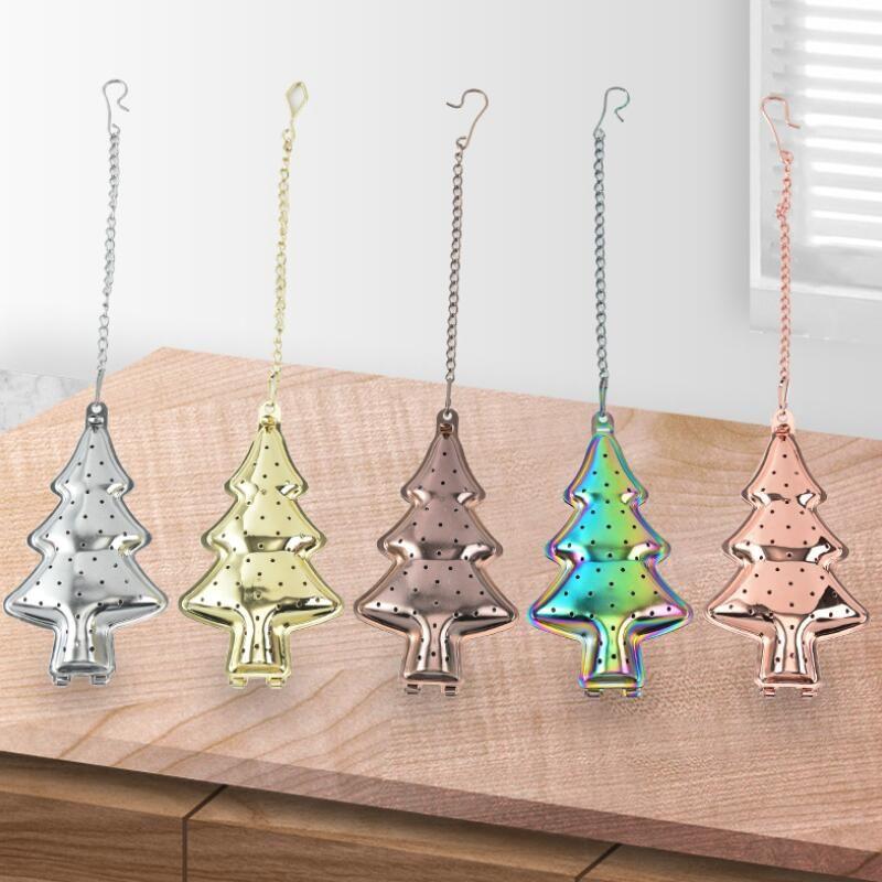 Fileiro de chá colorido 304 chá de aço inoxidável Presente de infusor de árvore de Natal árvore infusor ferramentas de cozinha FFAD3202