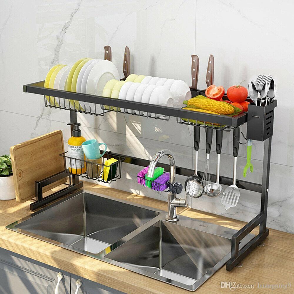 2 niveles de acero inoxidable para secar el bastidor sobre el soporte del escurridor de cubiertos de la cocina del lavamanos