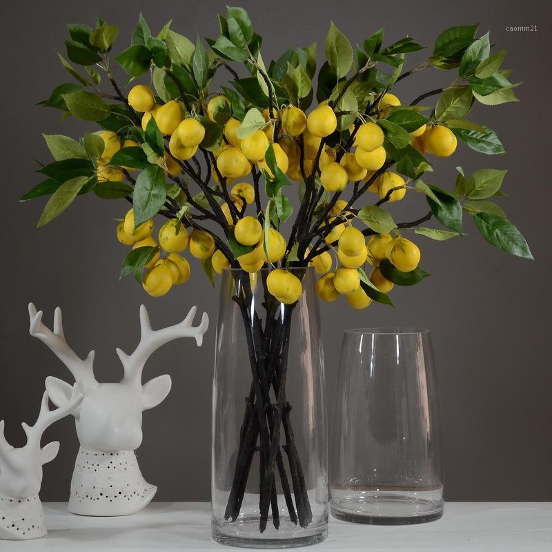 الزهور الزهور أكاليل التوت الأصفر زهرة الاصطناعية الداخلية والمنزل ديكور المنزل الأخضر الفاكهة branch1