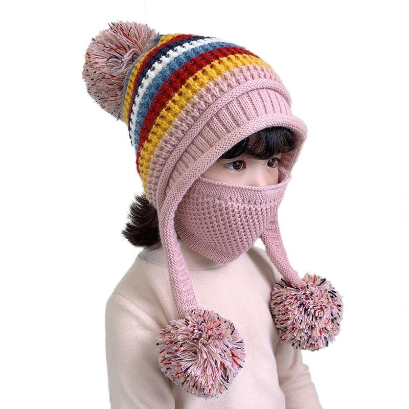 I bambini invernali tengono caldo cappello di filato di lana calda sport all'aperto antivento cappello lavorato a maglia a prova di raffreddore protezione dell'orecchio a prova di protezione antiscivolo 2 pezzi set da festa cappelli ff482