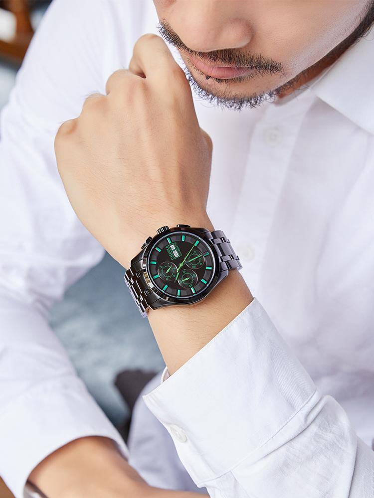 Мультифункциональные автоматические Multi-Functional автоматические механические часы мужские часы стальные полосы спортивные мужские часы Водонепроницаемый черный подлинный