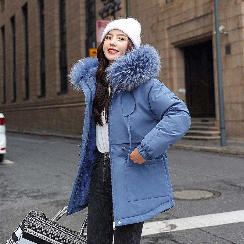 Женская зимняя куртка тонкий толстый меховой воротник длинные парки женщины с капюшоном с капюшоном с капюшоном с капюшоном плюс размер корейский стиль хлопчатобумажные мягкие женские холодные пальто # WC2Y