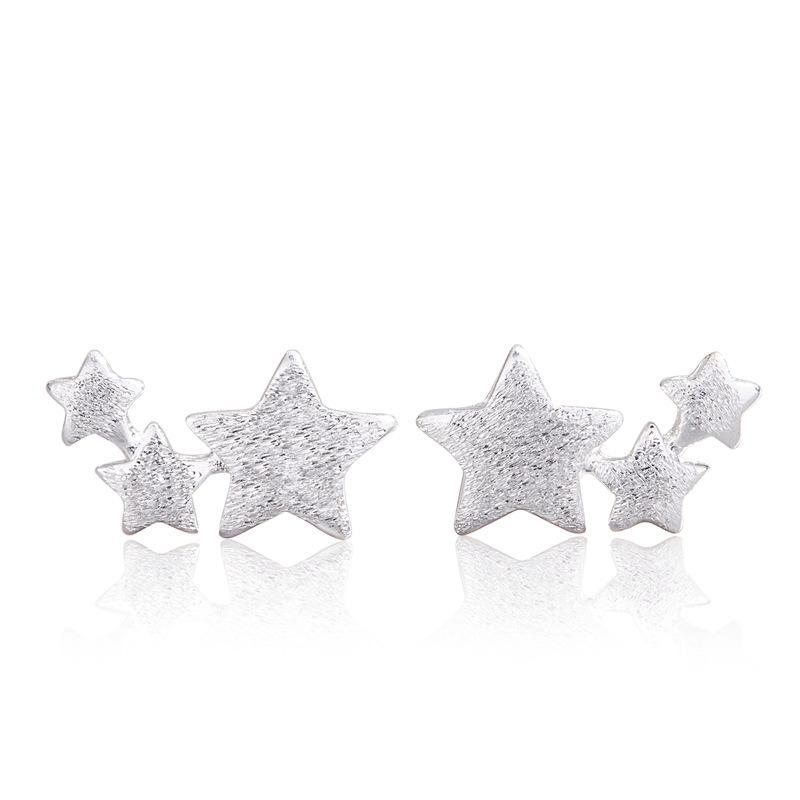 Frauen Sterne Ohrring Schmuck Dame Fünf spitze sternförmige plattierte silberne mode ohrringe Einfachheit 1 1ym J2