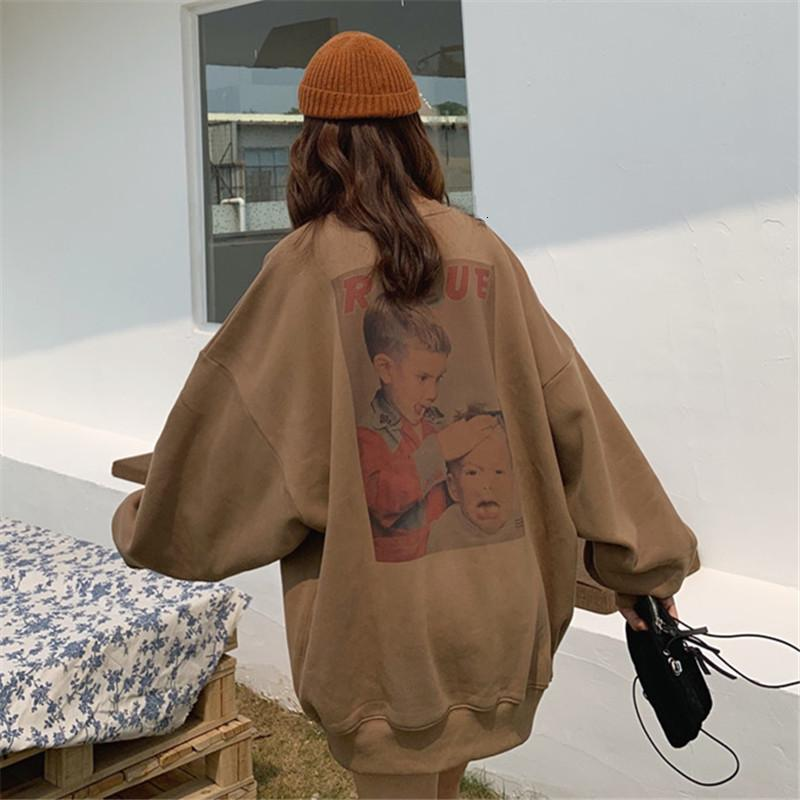 Осень 2020 Новый корейский шик плюшевый утолщенный расслабленный слоя стиль среднего длинного студента пуловер