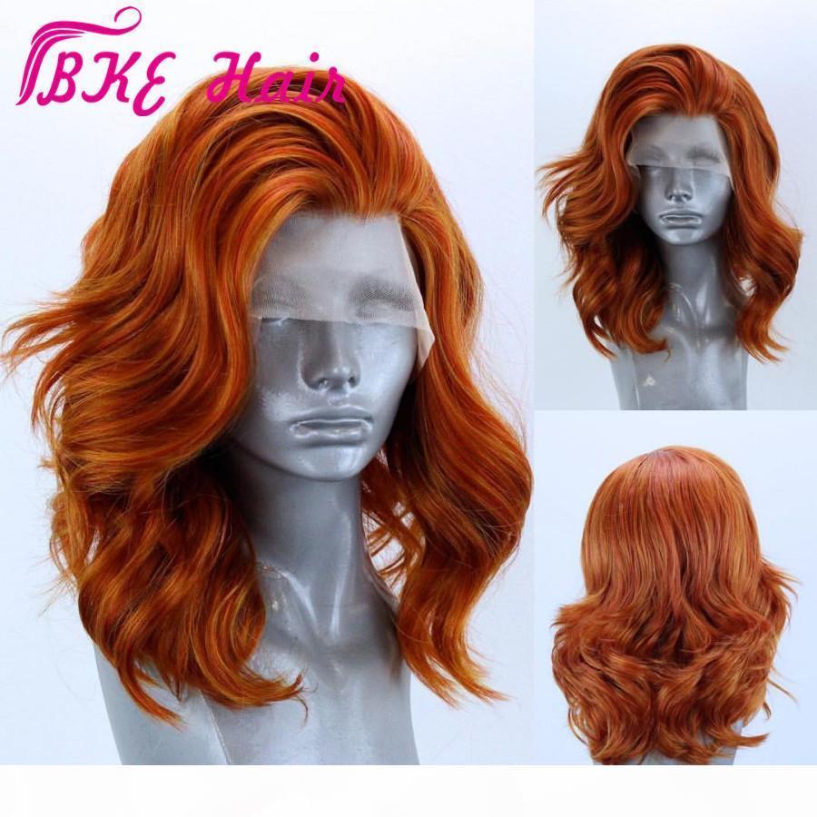 Pelucas delanteras de encaje sintético Worra de cuerpo Bob WIG pelucas cortas brasileñas Pre dobladas con pelo de bebé Peluca delantera de encaje naranja