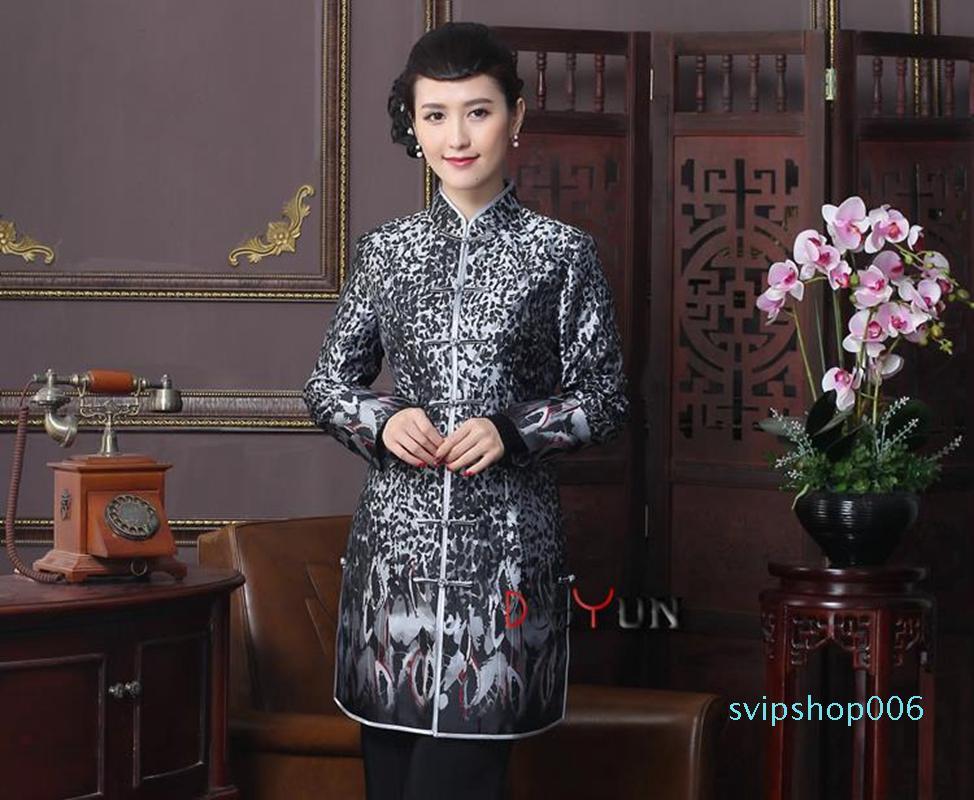 Chinês-Estilo Melhorado Auto-Cultivo Diário Longo Tang Terno Casaco Mãe Cinza Mãe Cinzenta De Manga Longa Tang Terno Jacket