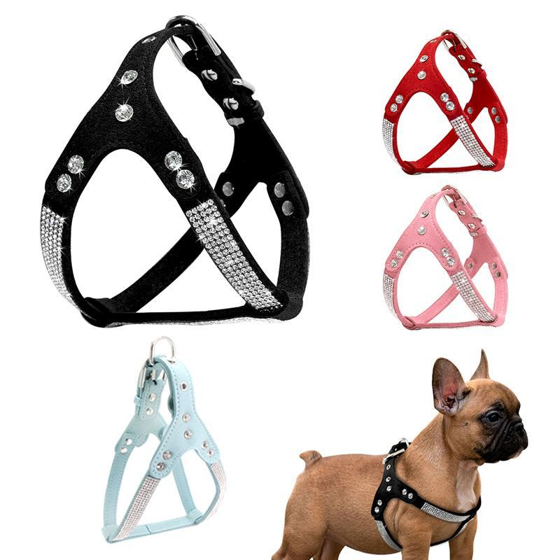 Rhinestone Dog Harness Suede Fiber Fiber Harness Gilet Gilet Gilet regolabile Cucciolo Cat Chest Strap Walking Dog Colletto Pet Forniture