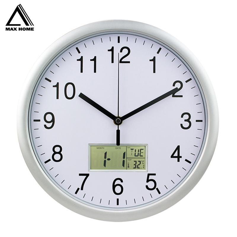 MAX HOME Silent Night Lights Glowing Decorative Clock 12 Inch Wall Clock Modern Home Decor Living Room Needle Round Wall