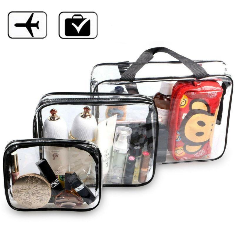 New Cosmetic Bag PVC Clear Transparent Plastic Travel Cosmetic Bag Zipper Makeup Toiletry Waterproof Organizer Fashion