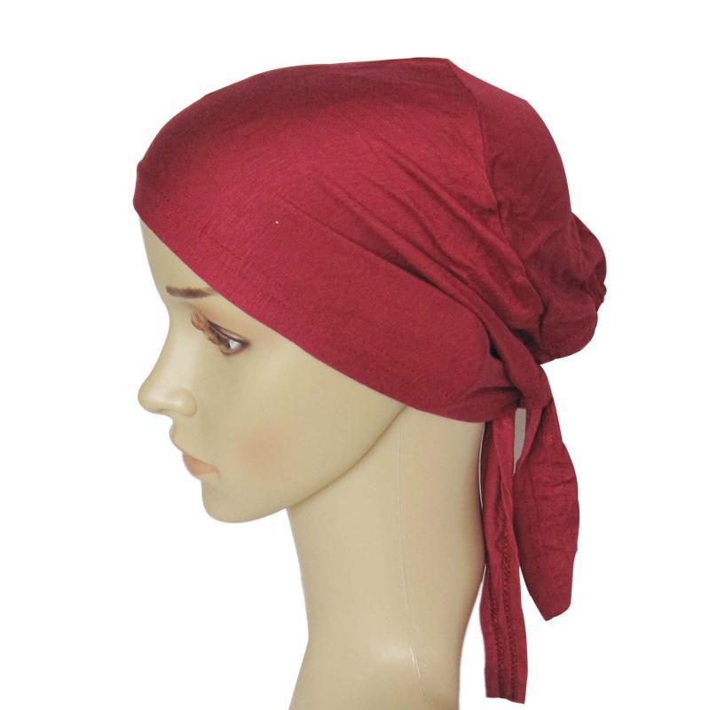 DD33 algodão macio e confortável cruzamento hijab turbante bonnet envoltório cabeça hijab underscarf