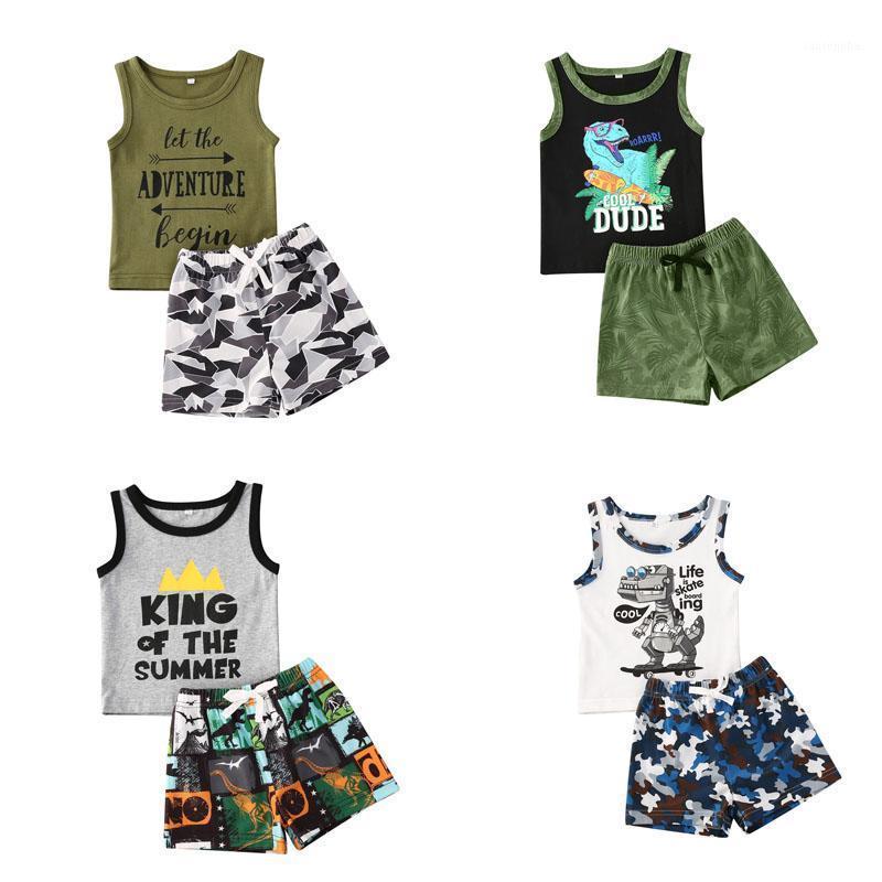 0-24 Montones 2 unids Conjunto de ropa / Cartoon Chaleco impreso Tops + Pantalones cortos para niños Newn Boy Baby Boy Boy Boys Trajes de ropa de verano1