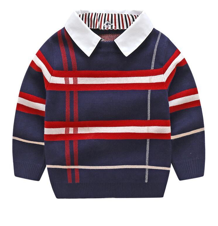 Meninos Sweatherhirt Outono Inverno Marca Camisola Casaco Casaco para TDDdle Baby Boy Sweater 2 3 4 5 6 7 Ano Roupas Boys