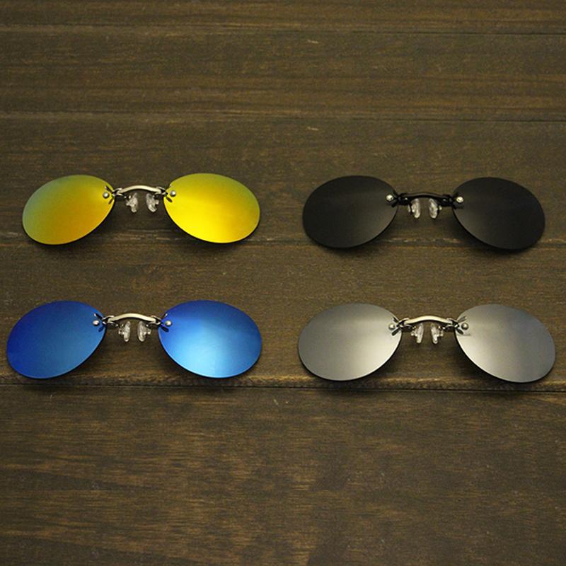 Isenghuo klassischer runder Clip auf Brillen Morpheus Matrix Movie Randlos-Sonnenbrille-Männer
